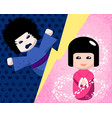 japanese dolls with positive and negative emotions vector image