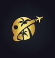 travel tropic holiday gold logo vector image vector image