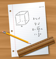Paper with pencil and ruler vector image