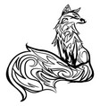 stylized fox line art black and white tattoo vector image vector image