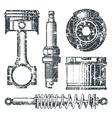 Car parts badges vector image