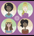Set of four cartoon avatars - girls 02 vector image