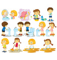 Girls and boys doing chores vector image vector image