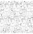 black and white seamless with cute dancing girl vector image