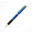 Blue metal ball point pen isolated on white vector image