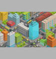 buildings city streets roads and traffic isometric vector image