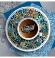 Cup of coffee and hand drawn nautical doodles vector image