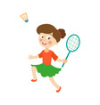 flat girl playing badminton shuttlecock vector image
