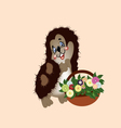 hedgehog with a basket of wild flowers vector image