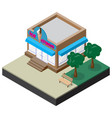 isometric ice cream shop with bench and trees vector image