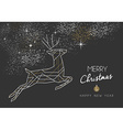 Merry christmas new year deer art deco outline vector image