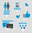 Set social media sticker icons vector image