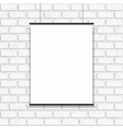 Poster hanging on seamless brick wall vector image