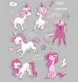set with cute pink unicorns vector image