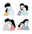 Set of couples in love portraits of loving guy vector image