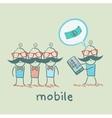 people buy mobile vector image