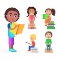 Open-eyed african boy reads book reading kids vector image