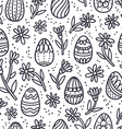 Decorative Easter doodle eggs seamless pattern vector image vector image