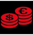 Coins dollar euro icon vector image
