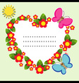 Background with flowers butterfly and sun vector image