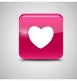 Heart Shaped Glass Button vector image