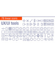 linear icons set of UIUI tools vector image