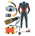 snorkeling and scuba diving set of elements scuba vector image