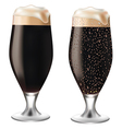 Dark beer in glass with drops vector image vector image