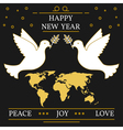 Happy new year peace joy and love greeting card EP vector image