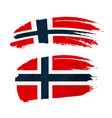 grunge brush stroke with norway national flag on vector image