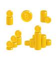 piles gold bitcoins isolated cartoon set vector image