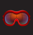 Red tinted ski goggles vector image