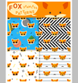 Set of animal seamless patterns with fox 2 vector image