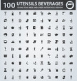 utensils beverages icons set vector image