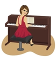 young woman playing brown upright piano vector image