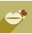 Flat web icon with long shadow lip heart vector image