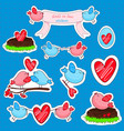stickers with birds in love and friendship vector image