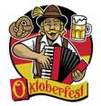 bavarian man celebrating oktoberfest vector image