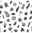 hand drawn botanical doodles seamless pattern vector image