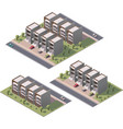 isometric townhouses set vector image vector image