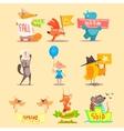 Flat Season Animal Icons vector image