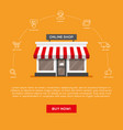 flat storefront and linear icons set vector image