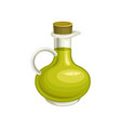 glass bottle of olive oil with cork natural and vector image