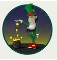 Irish leprechaun with gold vector image
