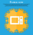 microwave icon Floral flat design on a blue vector image