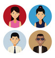 people in round icons vector image