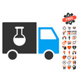 chemical delivery truck icon with dating bonus vector image