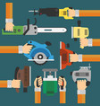 builders tools modern flat background with hand vector image