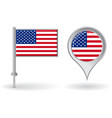 American pin icon and map pointer flag vector image