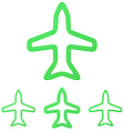 Green line airplane logo design set vector image